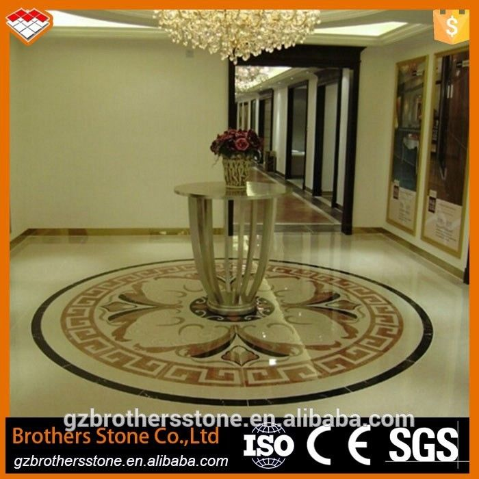 Beige Marble Water Jet Medallion Bathroom Flooring And Wall Pattern Design